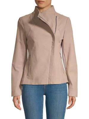 T Tahari Kelly Asymmetric Leather Jacket In Macrame