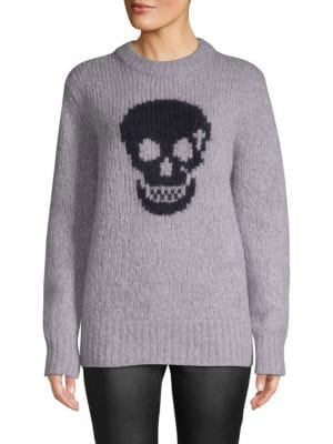 360cashmere Skull-print Textured Sweater In Lilac Navy