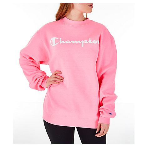 8f804ac0a9b3 Champion Women's Powerblend Fleece Boyfriend Crew Sweatshirt, Pink ...