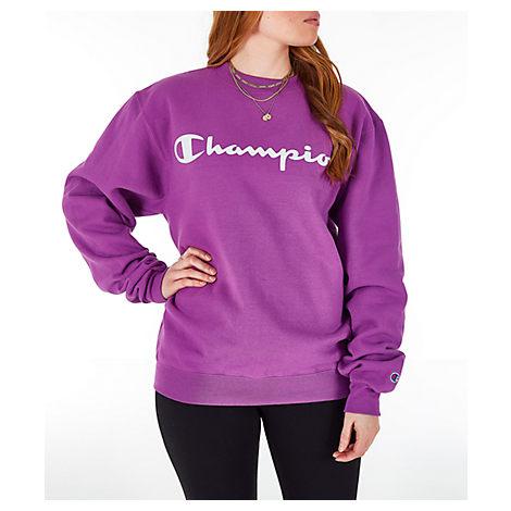 c72e6fdadde4 Champion Women's Powerblend Fleece Boyfriend Crew Sweatshirt, Purple ...