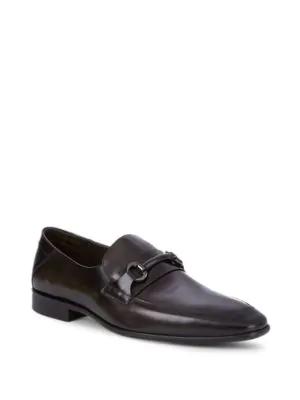 Bruno Magli Leather Horsebit Loafers In Dark Grey