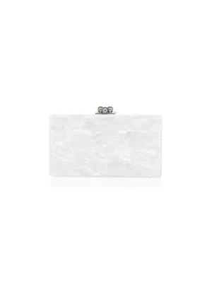 Edie Parker Jean Acrylic Confetti Box Clutch In White