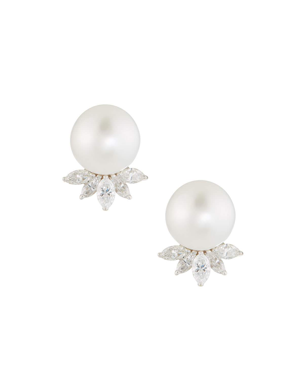 Diana M. Jewels 18K White Gold Pearl & Diamond Marquise Earrings