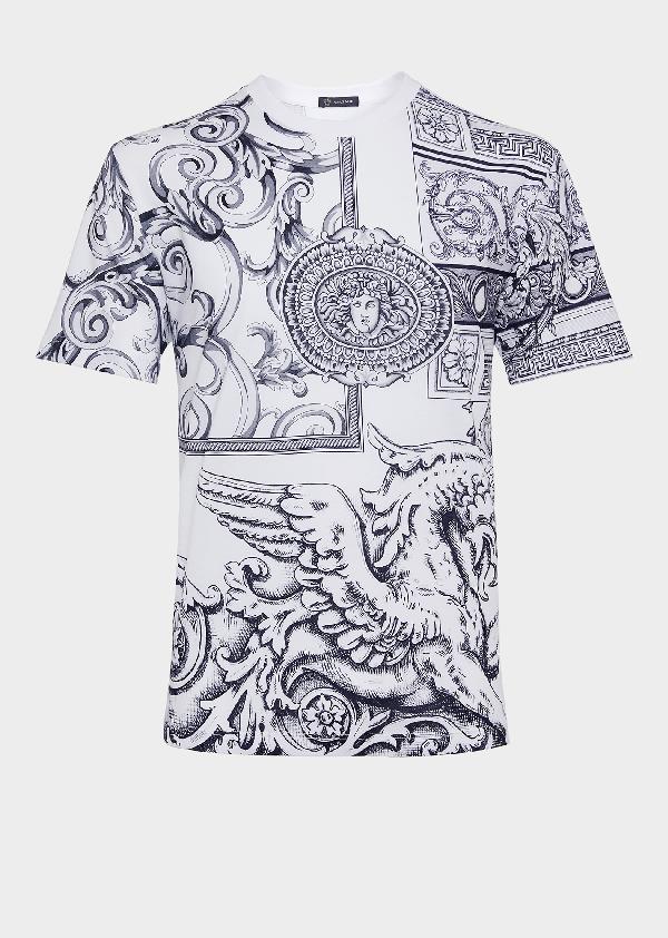fb654672 Versace Men's Classical Graphic Print T-Shirt, White Pattern In Black