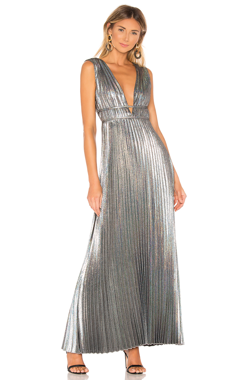 House Of Harlow 1960 X Revolve Esme Dress In Metallic Silver. In Hologram Multi