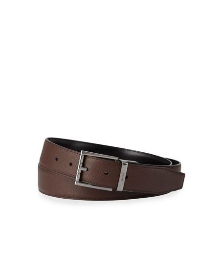 Bally Astor Embossed Leather Reversible Belt In Brown