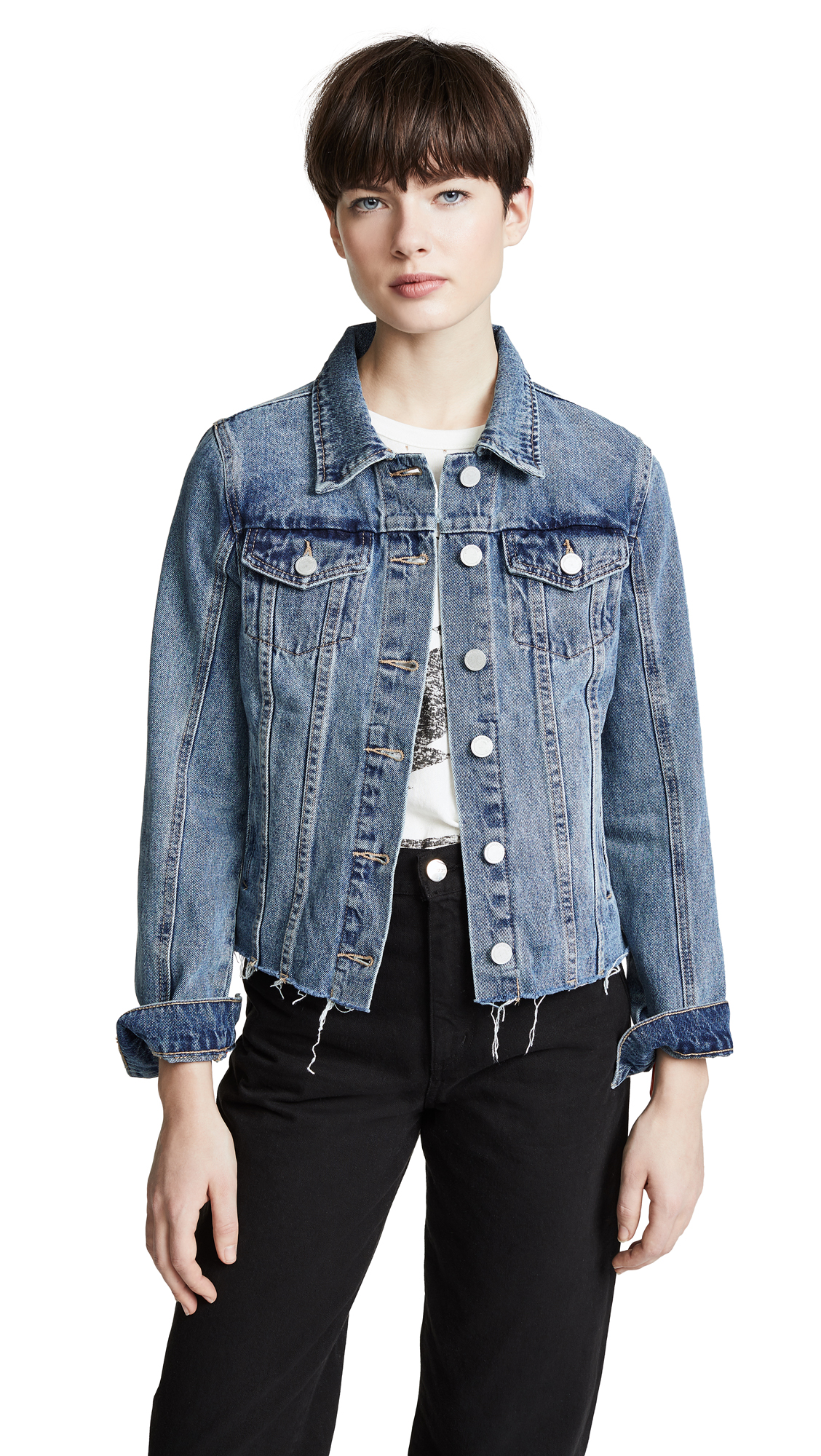 Blank Denim Zip Detail Denim Jacket In Sliding Doors
