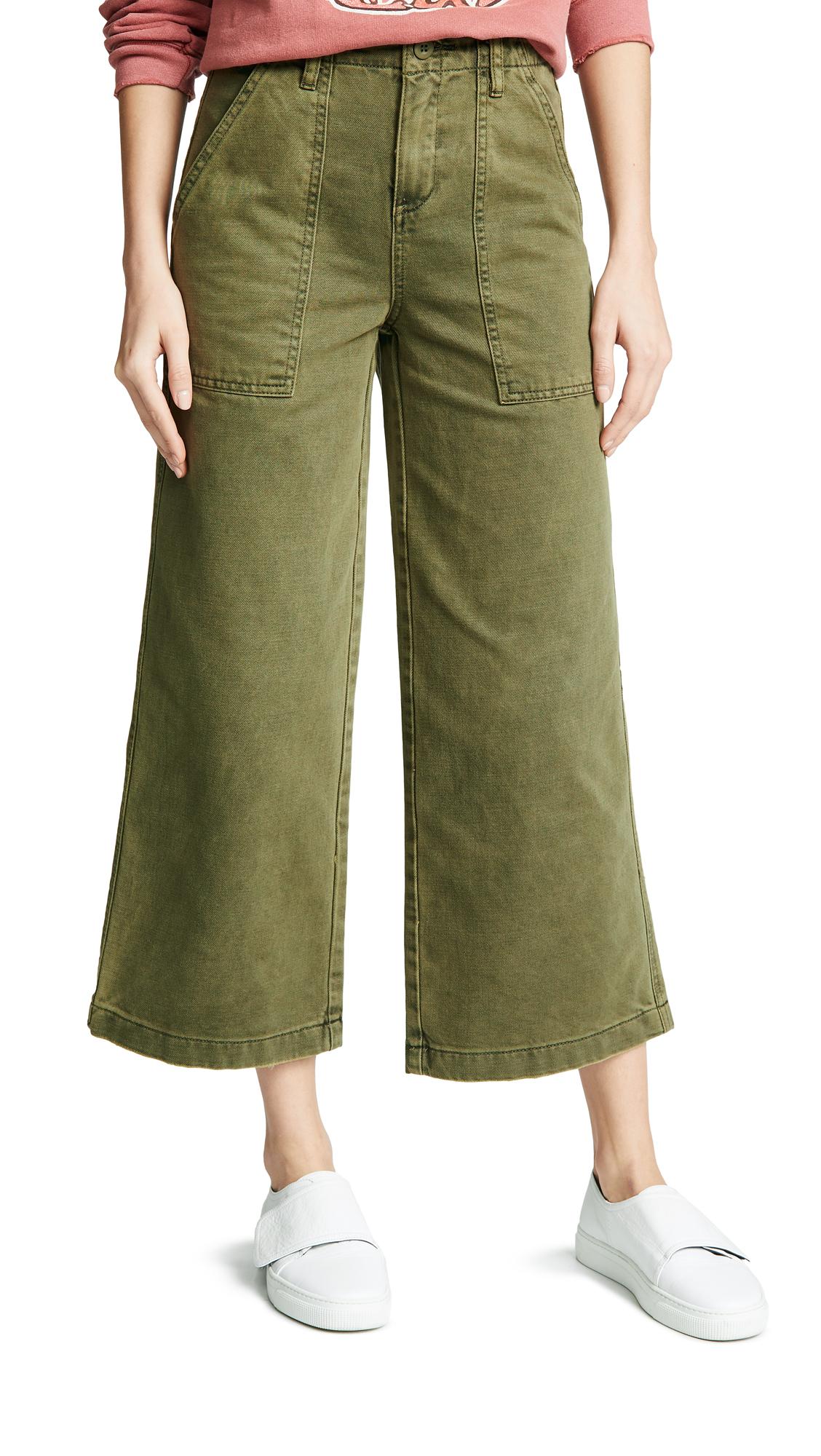Blank Denim Wide Leg Utility Pants In Sticks & Stones