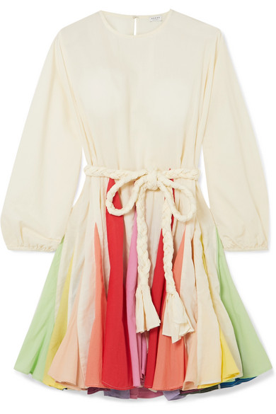 Rhode Ella Belted Color-block Cotton-voile Mini Dress In Cream