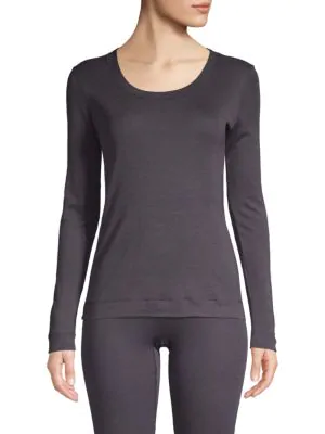 Hanro Long-Sleeve Silk & Cashmere Top In Carbon