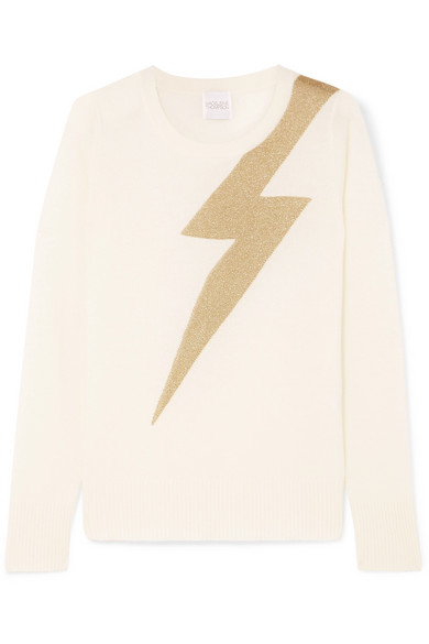 e9d360a3974f Madeleine Thompson Greve Metallic Intarsia Cashmere Sweater In Cream