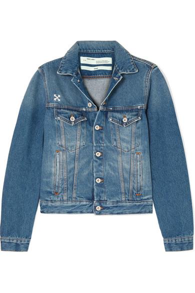 Off-White Distressed AppliquÉD Denim Jacket In Blue