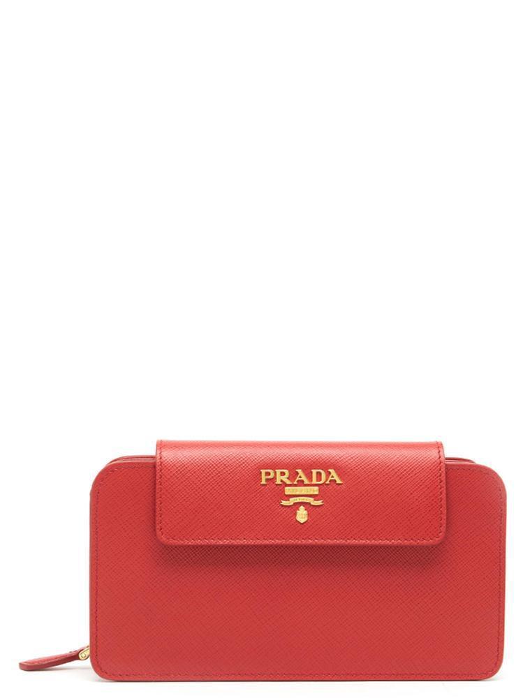 Prada Saffiano Zip Clutch Bag In Red  eb7a5d61b9a9d