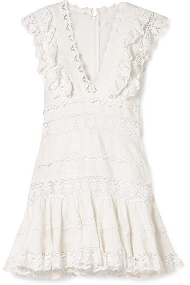 Zimmermann Wayfarer Ruffled Crochet-Trimmed Linen Mini Dress In White
