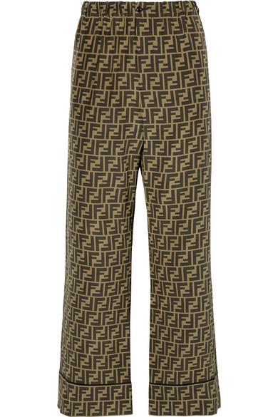 Fendi Cropped Printed Silk-Satin Wide-Leg Pants In Brown