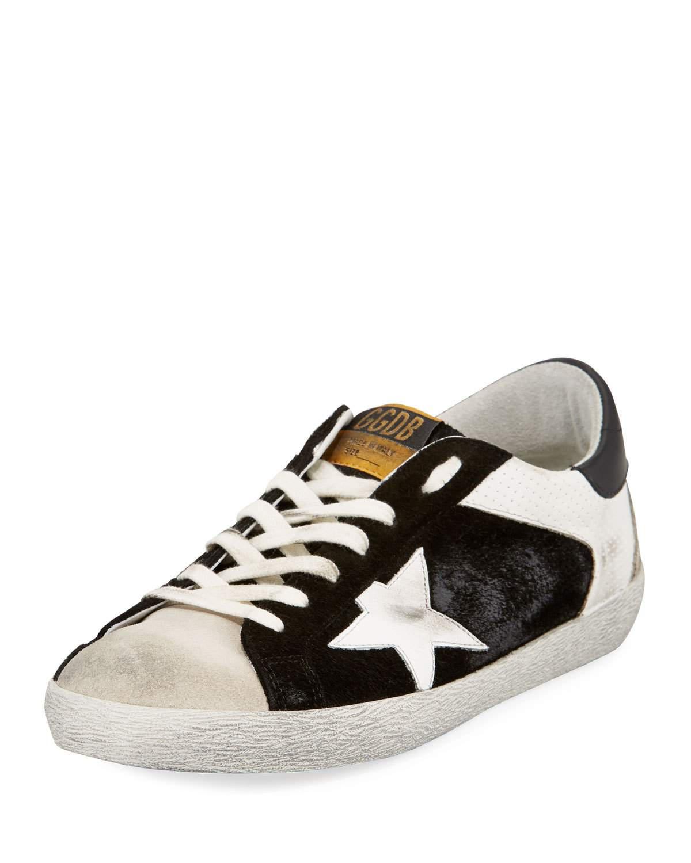 Golden Goose Men's Superstar Leather/Suede Low-Top Sneakers In Black/White