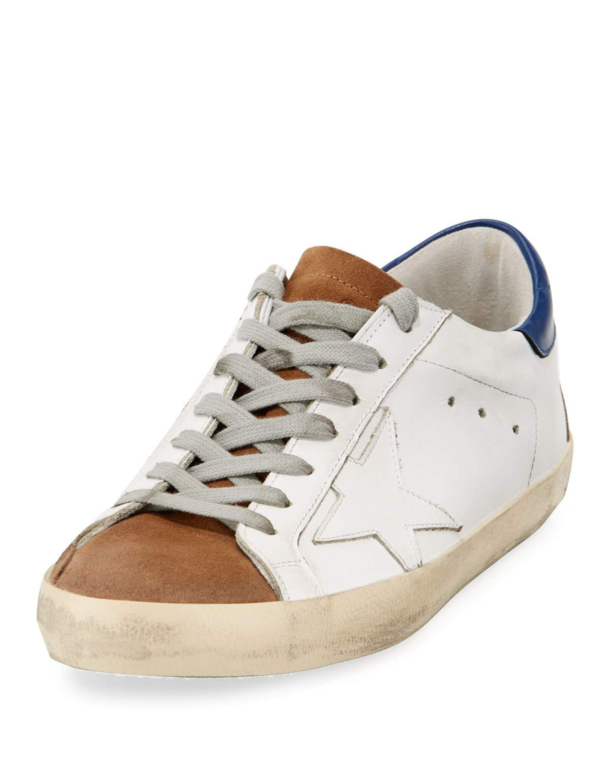Golden Goose Men's Superstar Tricolor Leather Low-Top Sneakers In White