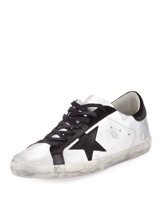 Golden Goose Men's Superstar Metallic Leather Low-Top Sneakers In Black/Silver