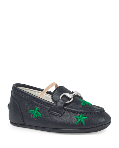 044dc43a1962 Gucci Jordan Bee   Star Embroidered Leather Loafers