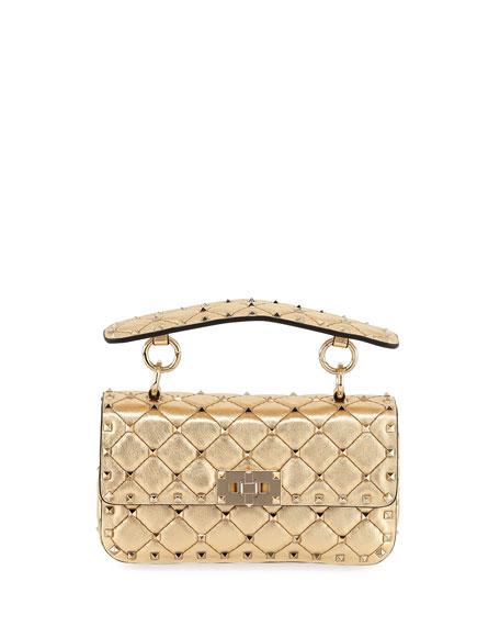 Valentino Rockstud Spike Small Metallic Shoulder Bag In Gold
