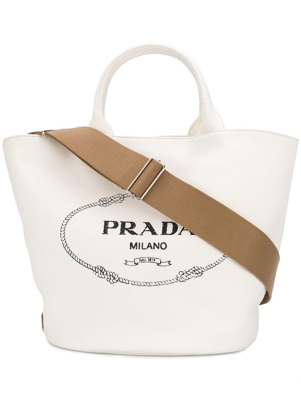 c29c6a0ab781 Prada Giardiniera Shopper Bag In White   ModeSens