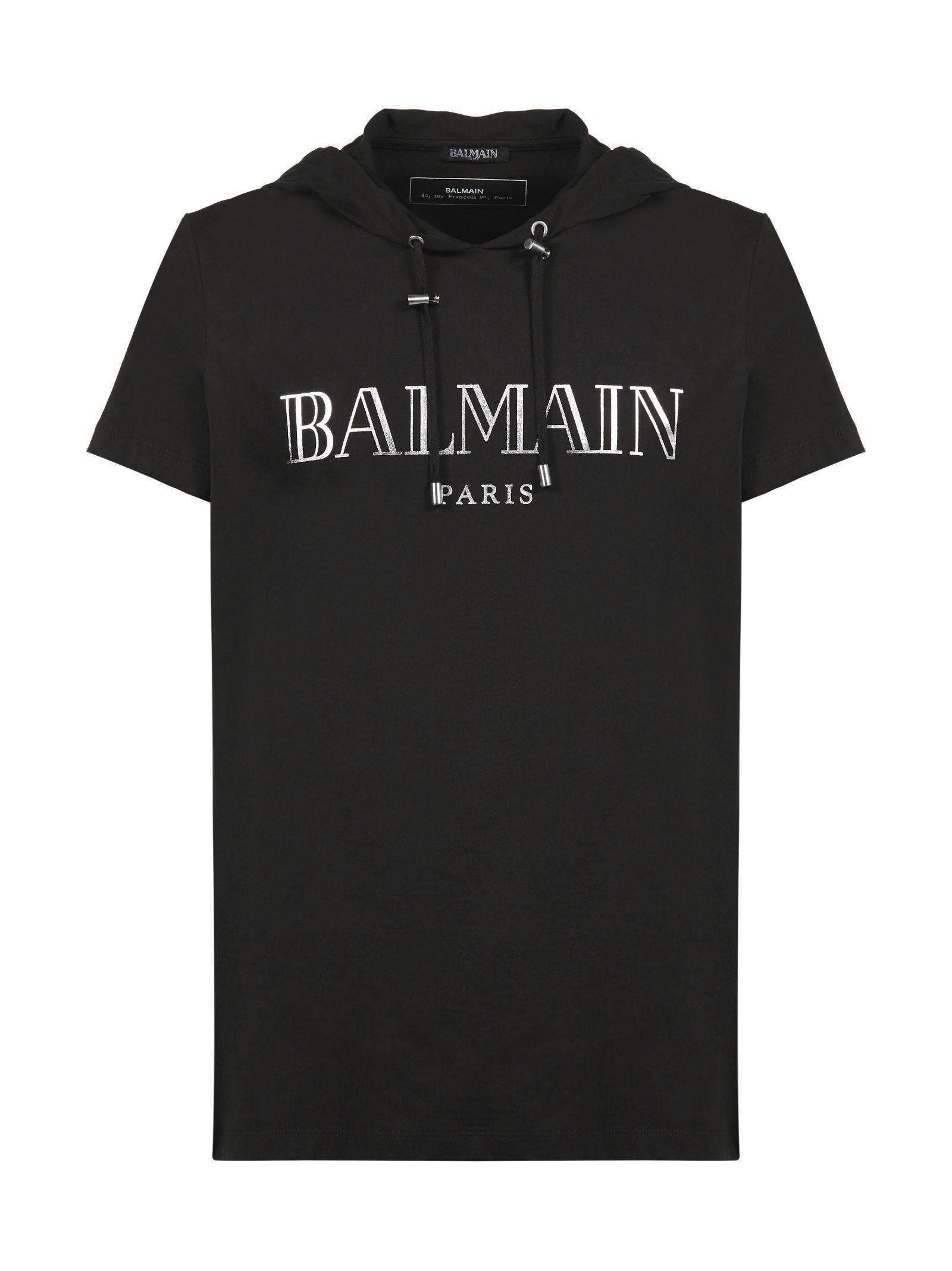 26a32527 Balmain Hooded T-Shirt In Nero Argento | ModeSens