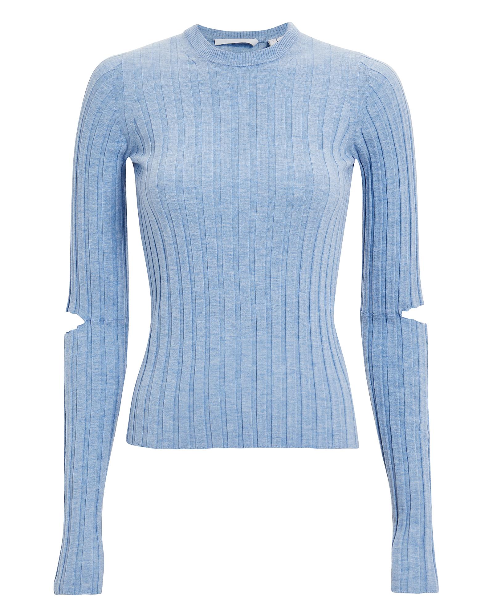 Helmut Lang Slashed Sleeve Knit Top  Blue-lt L