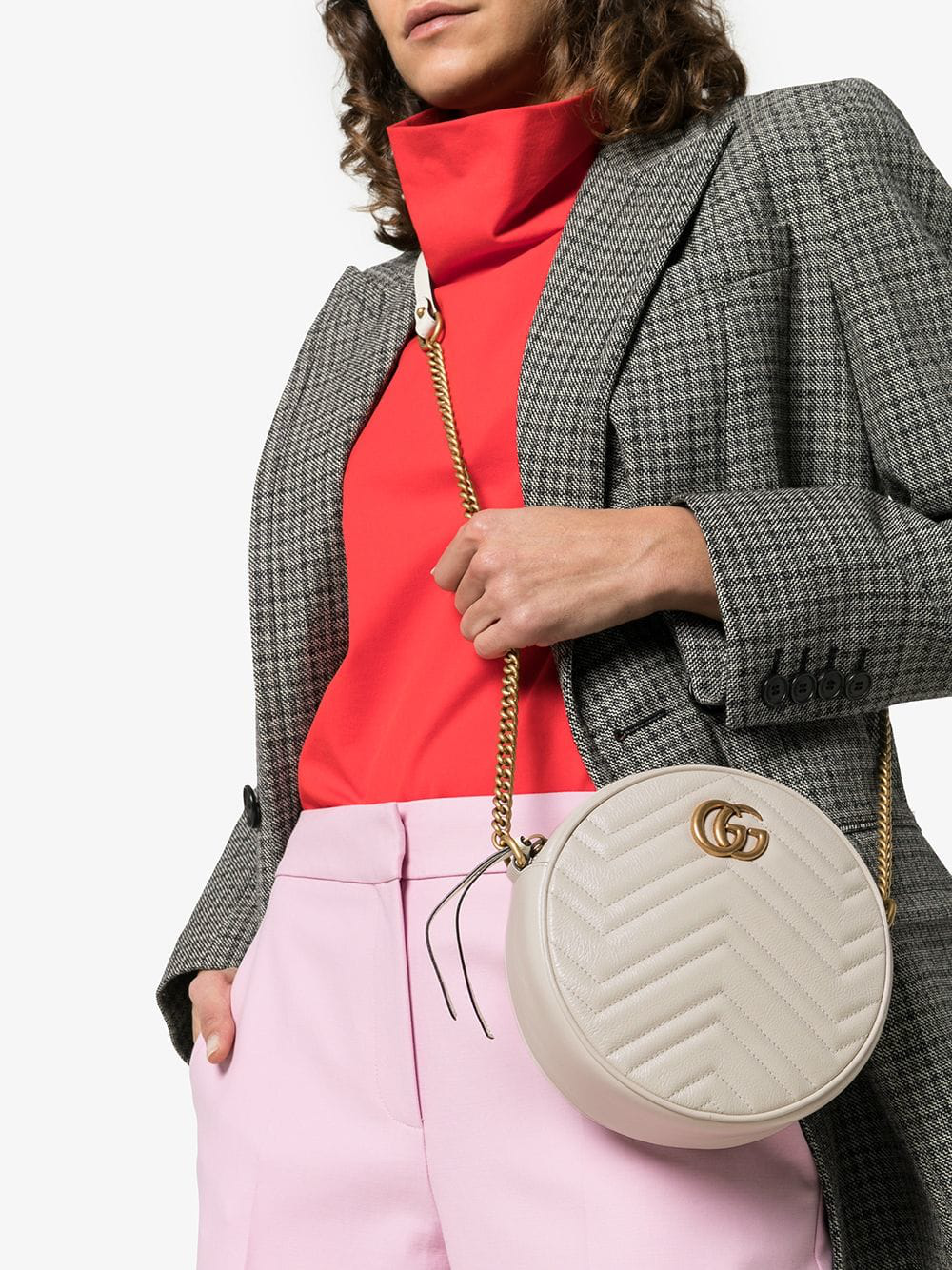 e8309632c3aec6 Gucci White Marmont Quilted Leather Circle Cross Body Bag | ModeSens