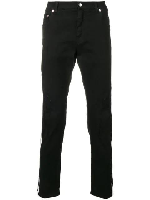 Dolce & Gabbana Contrasting Side Stripes Jeans In Black