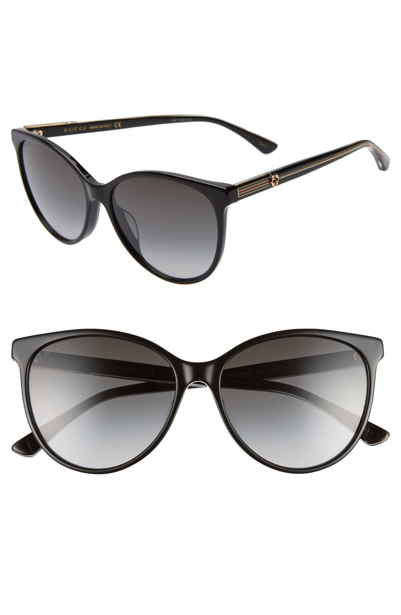 Gucci Round Acetate Sunglasses W/ Web & Logo Temples In Black/ Crystal/ Grey Gradient