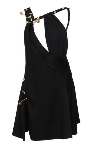 Versace Embellished Crepe De Chine Mini Dress In Black