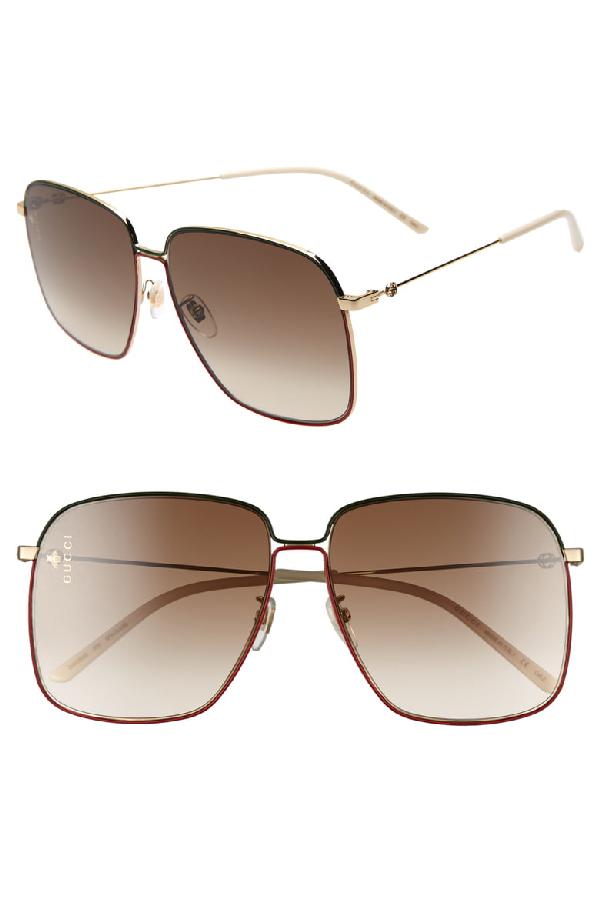 79b3f42f7 Gucci Gg0394S Rectangular-Frame Metal Sunglasses W/Mini Interlocking G Logo  In Gold