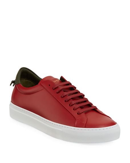 Givenchy Men's Urban Street Leather Low-Top Sneakers In Red/Green