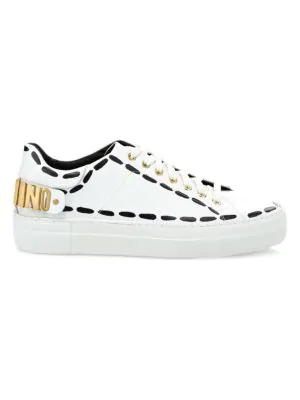 Moschino Logo Low-Top Sneakers In White