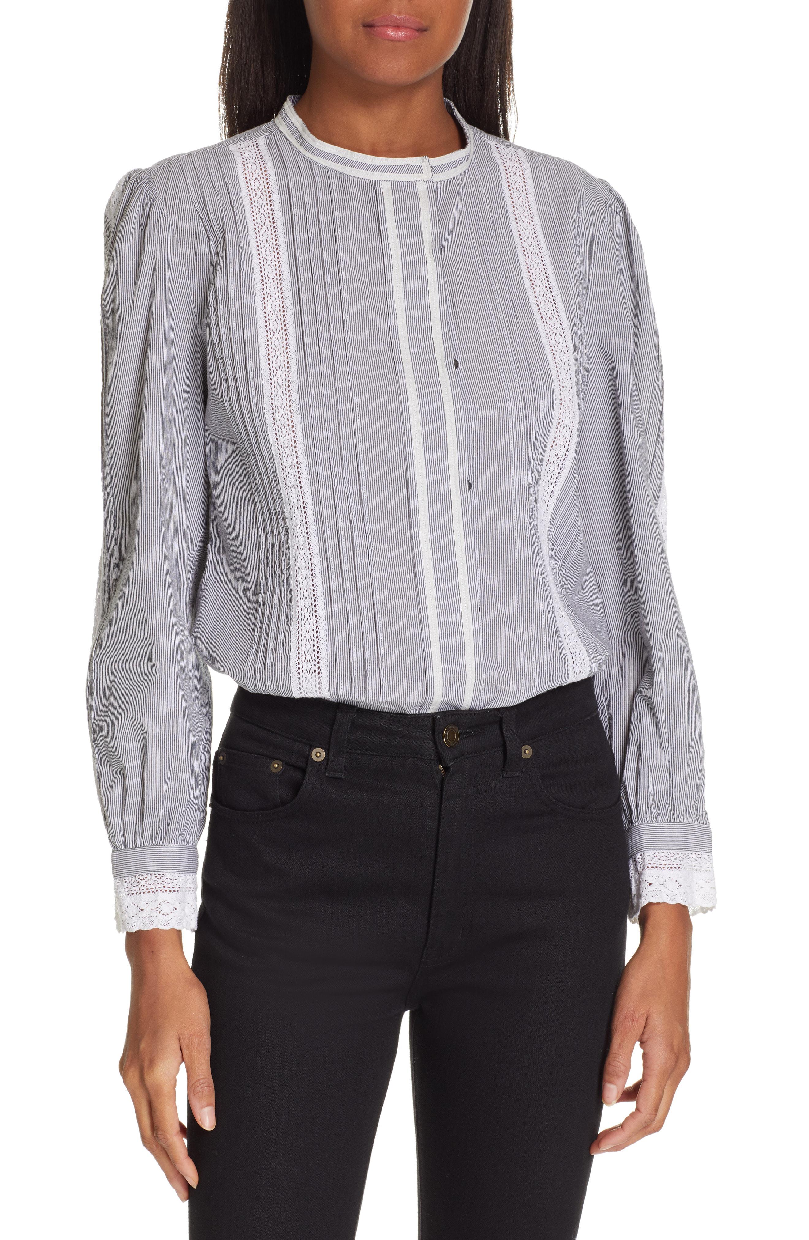 0264299a8ee Rebecca Taylor Lace Stripe Top In Black  Milk Combo