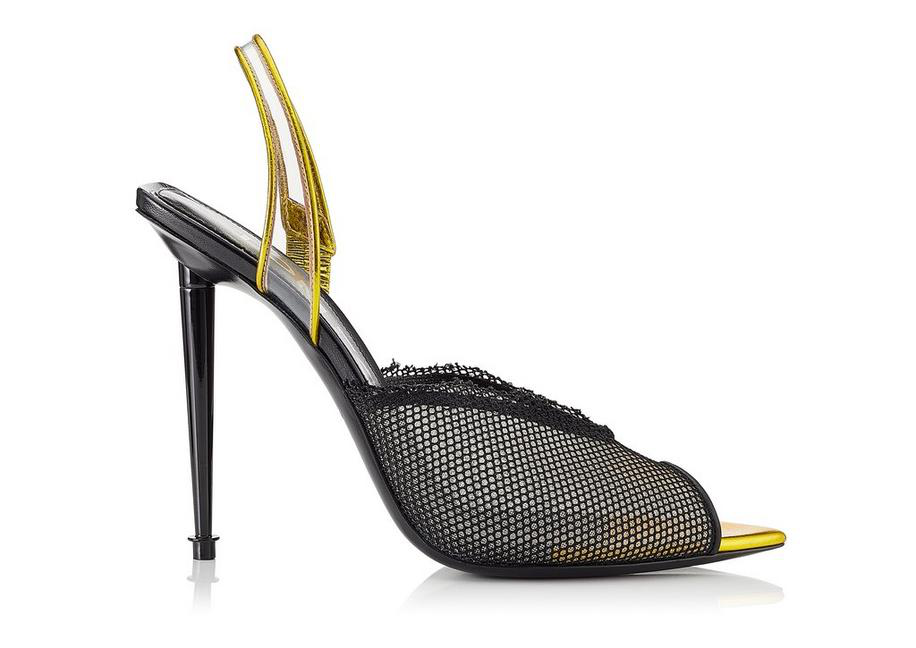 Tom Ford Mesh Open-toe Halter Pumps In Black+mimosa