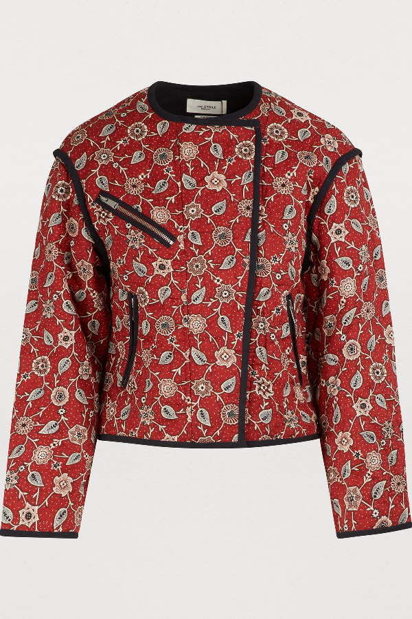 b1cc39541e8 Etoile Isabel Marant Manae Printed Quilted Linen Jacket In Rust ...