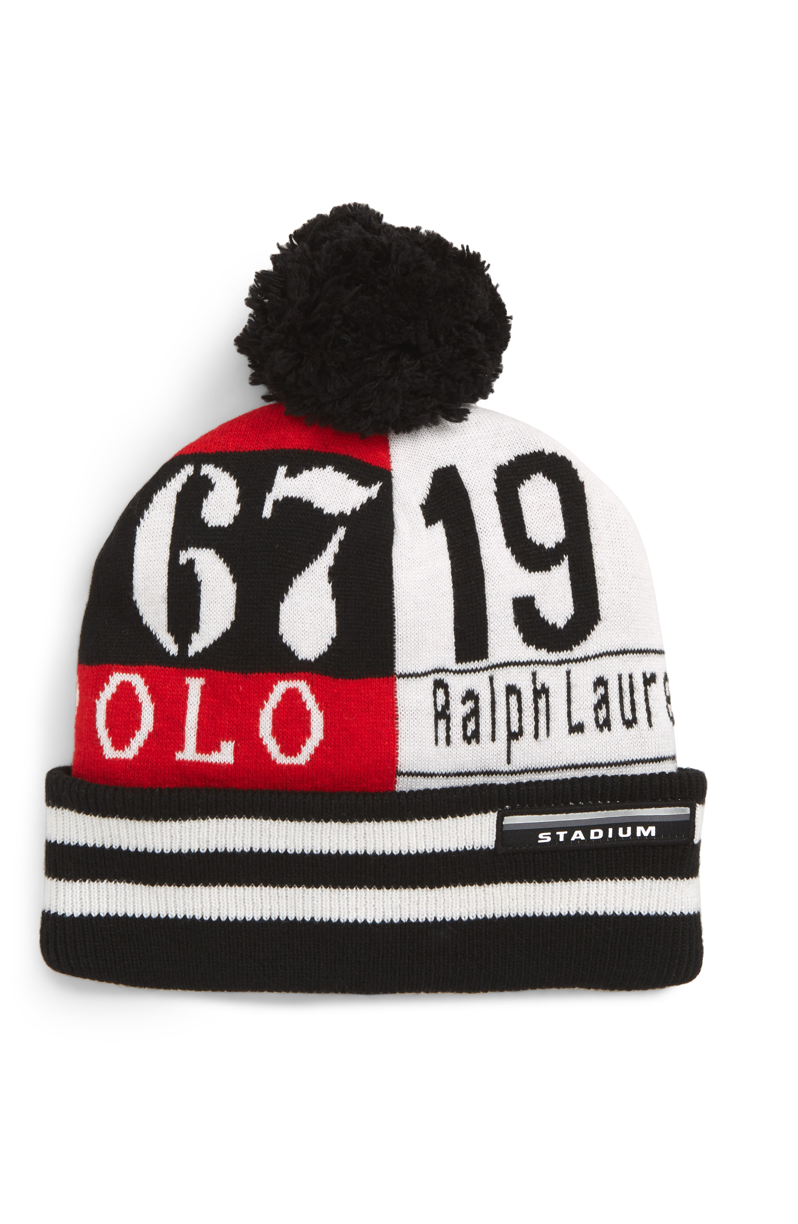 4af4196a86f2a Polo Ralph Lauren Rl67 Pom Beanie - Black In Black  Red