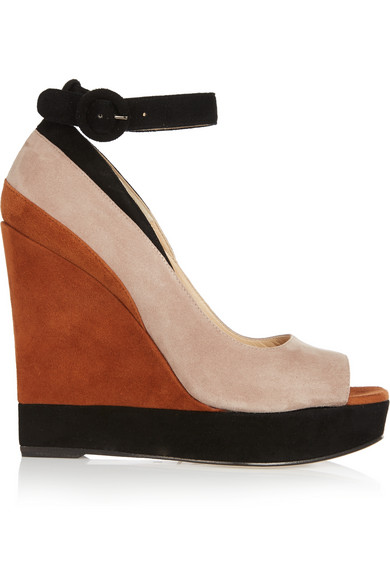 Paul Andrew Whitney Color-Block Suede Wedge Sandals In Brown