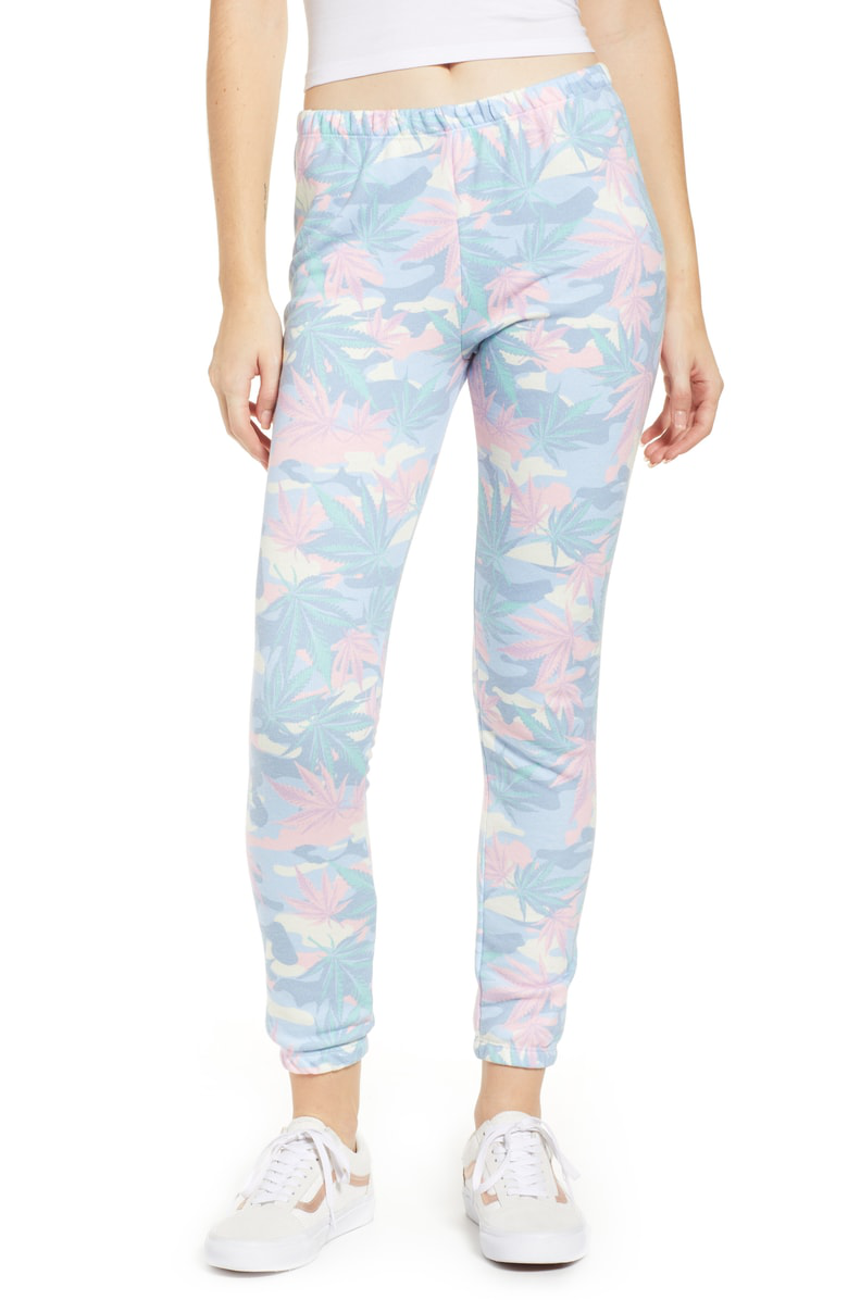 Wildfox Knox Jogger Pants In Light Terry Multi