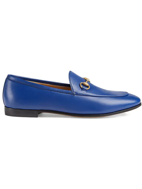 Gucci Jordaan Leather Moccasin Loafer In Blue In 4520 Electric Blue