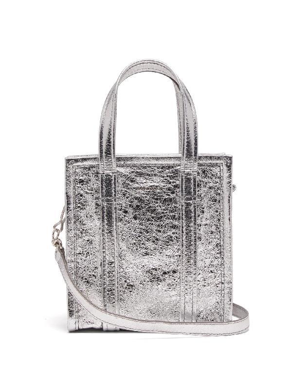 """Balenciaga Xxs """"bazar"""" Shopping Bag In Silver"""