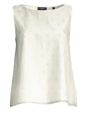 61de631f444db Theory Embellished A-Line Sleeveless Top In White