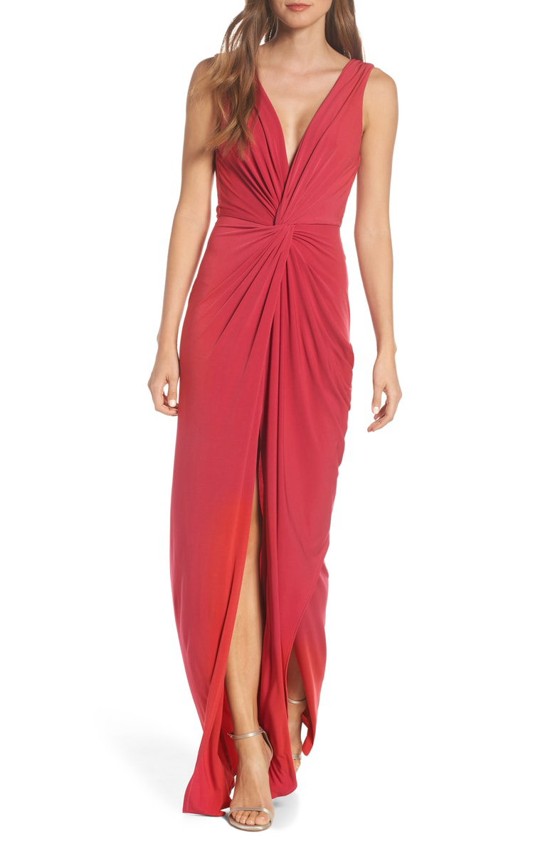 91afe840e02 Katie May Leo Twist Front Evening Dress In Ruby