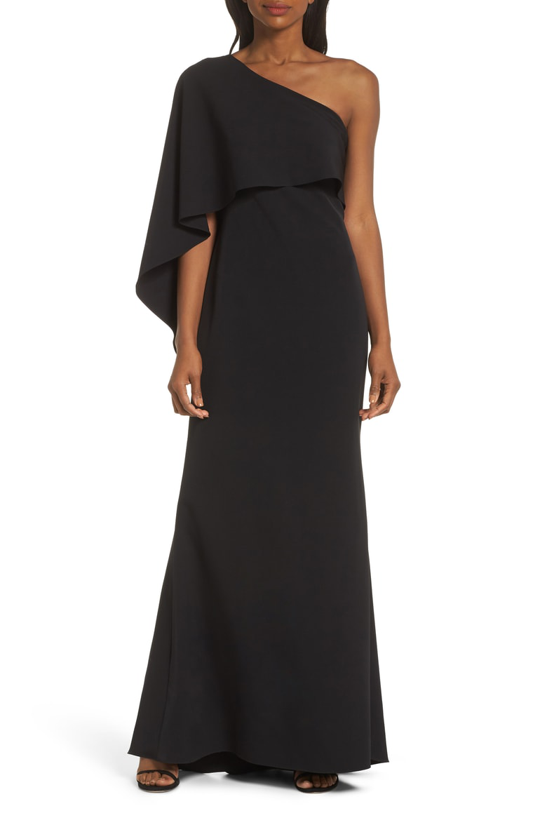 40a8897efc2 Vince Camuto One-Shoulder Cape Evening Dress In Black | ModeSens