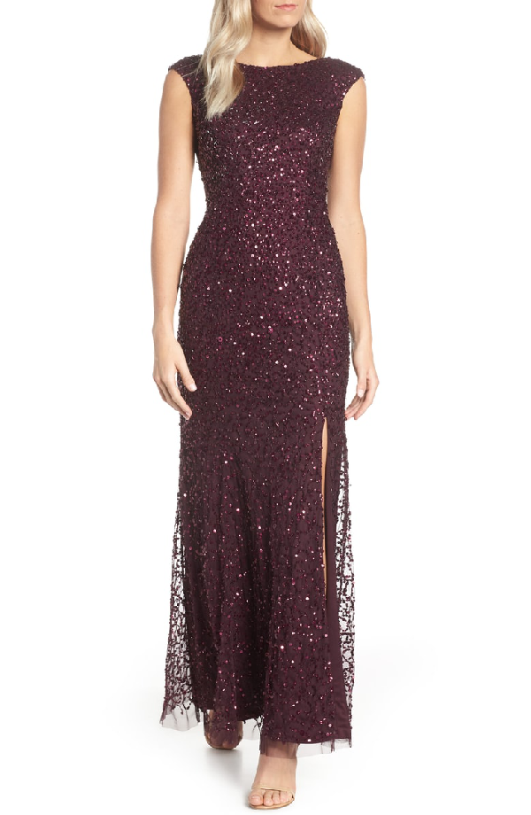 Adrianna Papell Sequined Cap-sleeve Gown In Night Plum