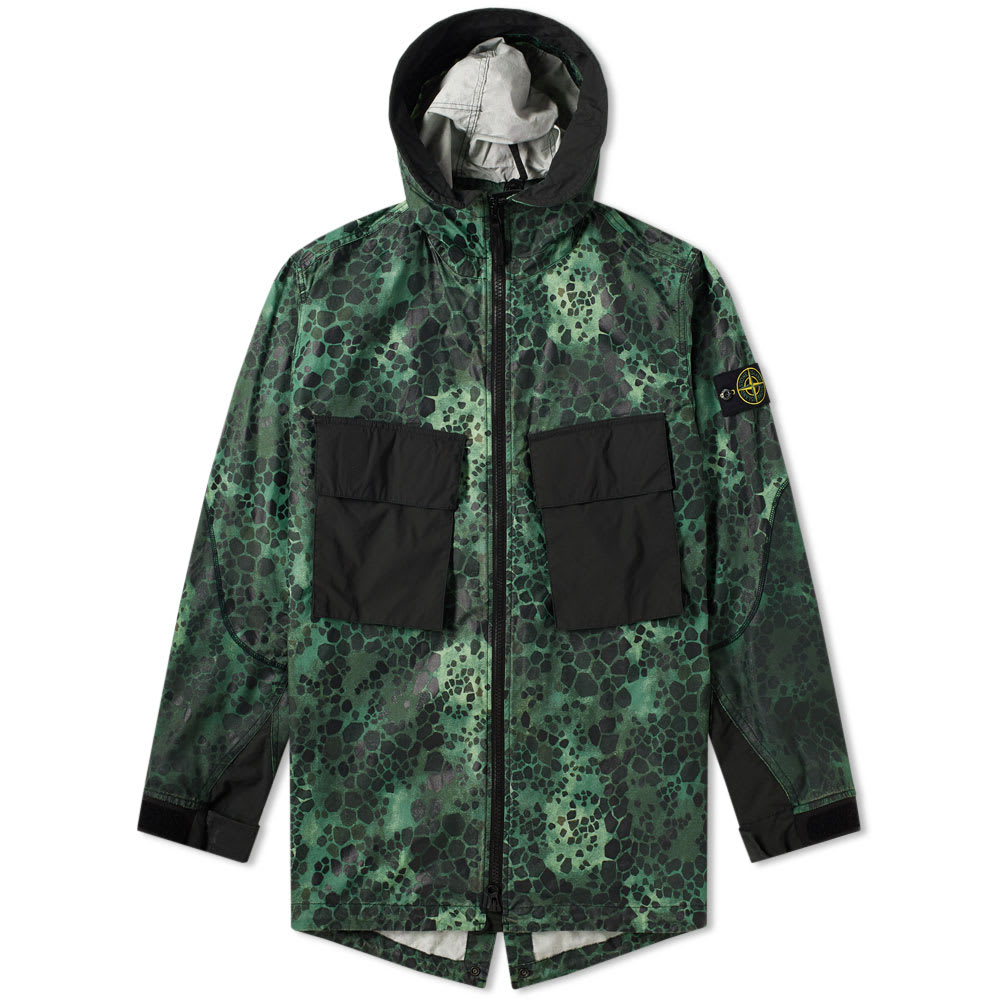 fb7bc1e62a3e5 Stone Island Alligator Camo Light Cotton Nylon Rep Hooded 4 Pocket Jacket  In Green