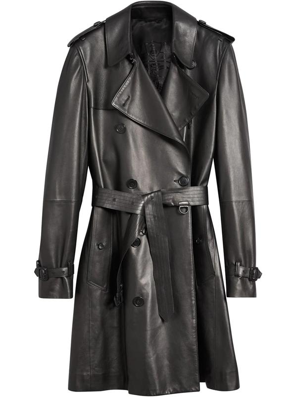 Burberry Mens Lambskin Trench Coat In Black