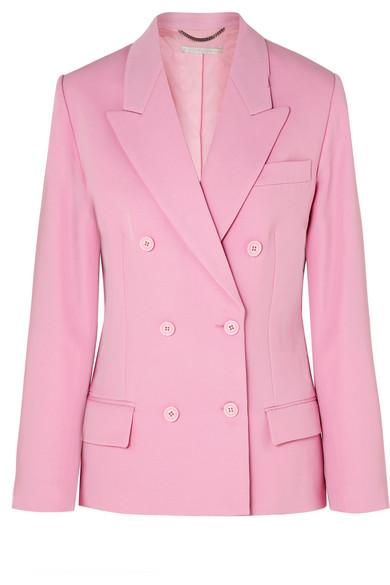 Stella Mccartney Double-Breasted Wool-Twill Blazer In Pink