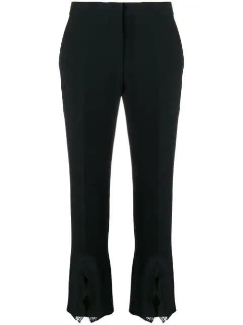 Alexander Mcqueen Lace-Trimmed Wool-Blend Bootcut Pants In Black